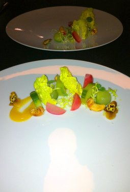 Pretty little cucumber, radish, cashew and passion fruit salad